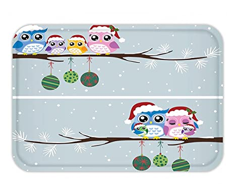 minicoso doormat christmas decorations mother father baby owls on tree branch celebration holly season new year