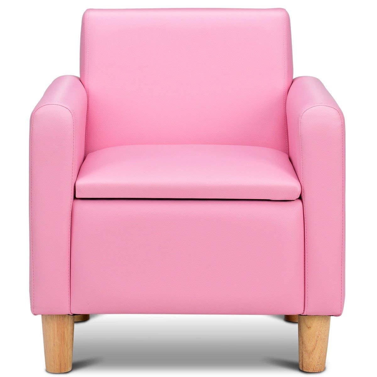 HONEY JOY Kids Sofa, Upholstered Armrest, Sturdy Wood Construction, Toddler Couch with Storage Box (Single Seat, Pink) by HONEY JOY (Image #2)