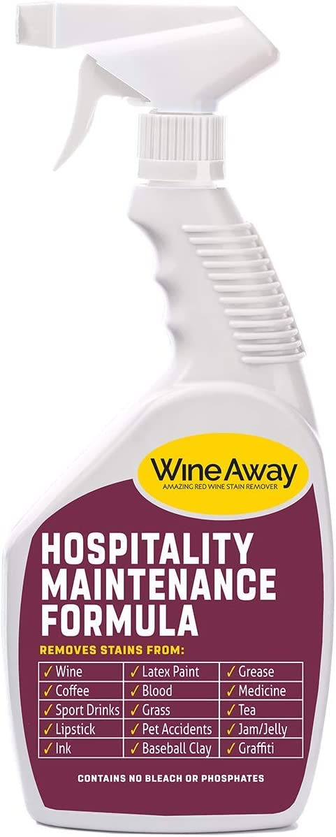 Wine Away Multi-Purpose Cleaner - Red Wine Stain Remover - Perfect Fabric Upholstery and Carpet Cleaner Spray Solution - Spray and Wash Laundry to Vanish Stain - Zero Out Odor - 24 Ounce Spray Bottle
