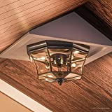 "Luxury Colonial Outdoor Ceiling Light, Medium Size: 8""H x 15.25""W, with Tudor Style Elements, Versatile Design, High-End Black Silk Finish and Beveled Glass, UQL1155 by Urban Ambiance"