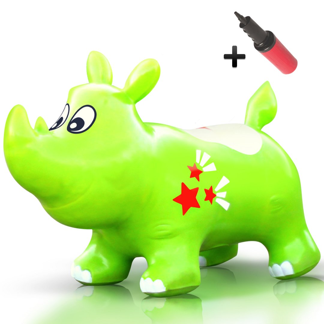 Bouncy Kent the Rhino Inflatable Horse Hopper (Space Hopper, Jumping Horse, Ride-on Bouncy Animal) Waliki JR-LIME