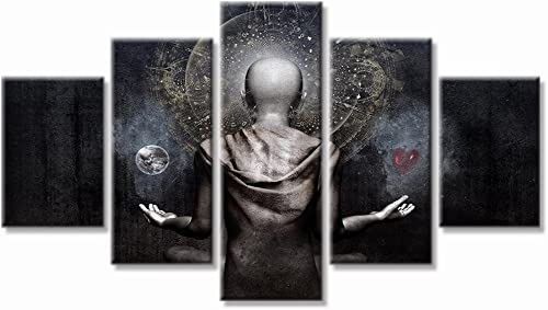 VIIVEI Buddha Psychedelic Trippy Wall Art Canvas Prints Art Home Decor for Living Room Pictures 5 Panel Large HD Printed Painting Framed Ready to Hang 60 Wx32 H, 2