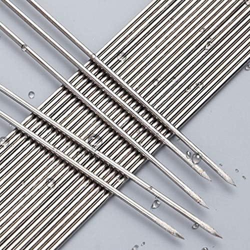 Lot de 100 brochettes plates rondes en acier inoxydable pour barbecue Argenté 2 mm x 30 cm