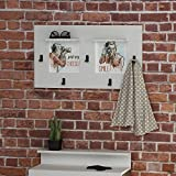 LaModaHome Vintage Coat Rack, Just Say Cheese! Man Paint Take A Photo Smile! Entryway Storage Shelf, Wooden Accent Furniture Hall Stand Design