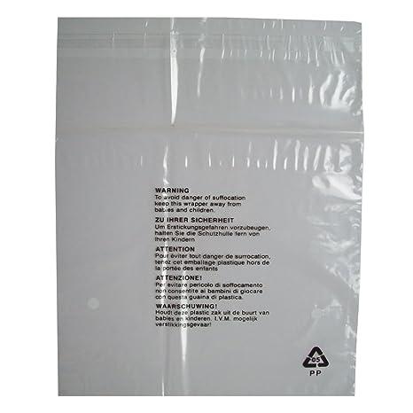 100 bolsas plástico transparente, cierre auto-adhesivo, para guardar vestimenta individual, con advertencia de seguridad - tamaño pequeño 250mm x ...