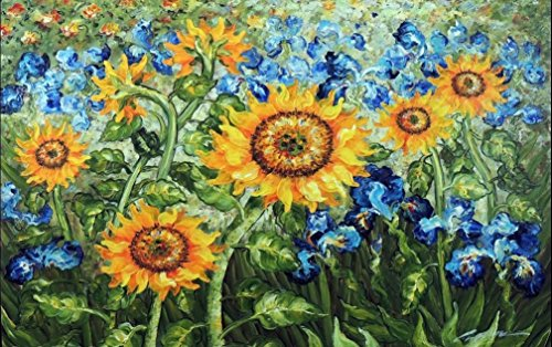 100% Hand Painted Golden Sunflower Blue Iris Canvas Oil Painting for Home Wall Art by