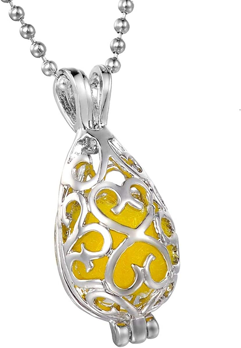 HooAMI Filigree Teardrop Water Drop Aromatherapy Essential Oil Diffuser Necklace Pendant Locket Jewelry