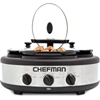 Chefman Triple Slow Cooker & Buffet Server with 3 Removable 1.5 Quart Oval Crocks, Pot Inserts are Individually Heat Controlled with Locking Lid Straps, Spoon and Lid Rests, 4.5 qt. total capacity, Stainless Steel – RJ15-15-TO