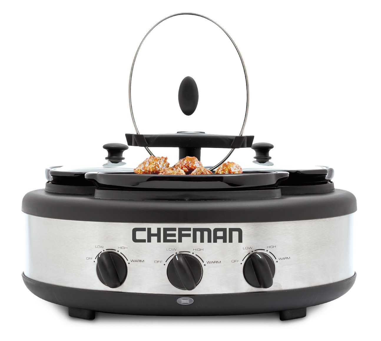 Chefman Cooker Buffet Server with 3 Removable 1.5 Qt. Oval Crocks, Pot Inserts Individually Heat Controlled, Locking Lid Straps, Spoon Lid Rests, 3 x 1.5 quart, Triple Slow Cooker
