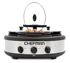 Chefman Triple Slow Cooker & Buffet Server with 3 Removable 1.5 Qt. Oval Crocks, Pot Inserts Individually Heat Controlled, Locking Lid Straps, Spoon & Lid Rests, Stainless Steel