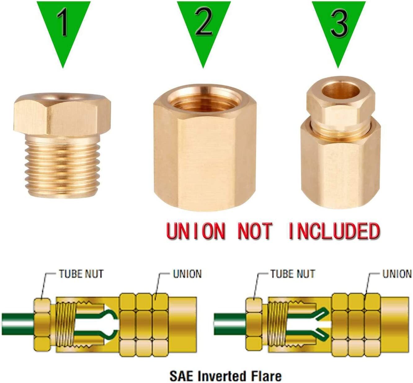 For Automotive Brake Line Systems Better Than Steel 3//8-24 Inverted Threads Minimprover 16 PCS Brass Inverted Flare Brake Line Nut Fitting For 3//16 Tube