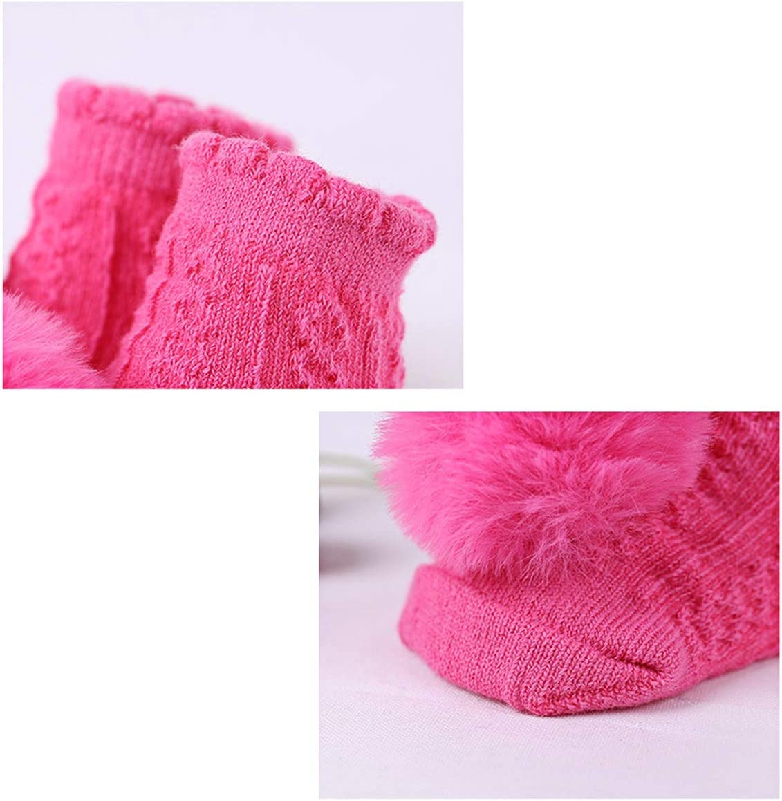 Color : Pink+Rosy 2 Pair Cute Baby Girls Pom Pom Breathable Socks Newborn Cotton Socks for 0-6 Month