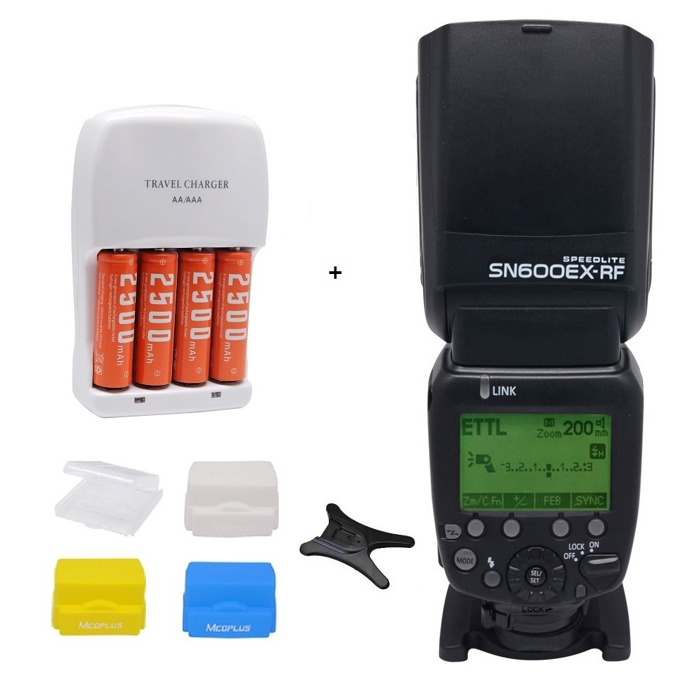 Shanny SN600EX-RF 2.4G Wireless Radio 1/8000s HSS GN60 Master Slave Speedlite Flash for Canon DSLR Cameras + 3pcs Mcoplus Diffuser and 4pcs 2500mAh AA Batteries with Travel Charger by Shanny