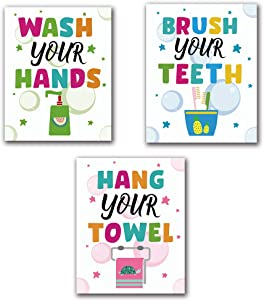 """Funny Bathroom Quotes Lettering Sign Stars Bubbles Wall Art Painting Poster, Bathroom Canvas Wall Art Printing, For Kids Washroom Bathroom Reminder Toilet Decor, Set of 3 (8""""X10""""), No Frame"""
