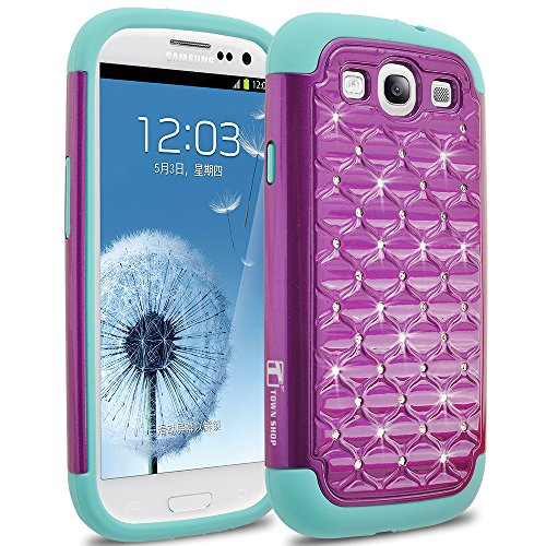 Galaxy S3 Case, TownShop® Purple/ Turquoise Spot Diamond Studded Bling Crystal Rhinestone Dual Layer Hybrid Cover Silicone Rubber Skin Hard Case For Samsung Galaxy S3 (I9300) (Galaxy S3 Skins)