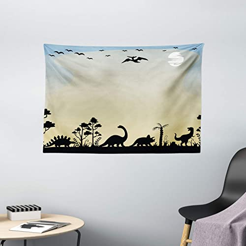Lunarable Dinosaur Tapestry, Dinosaurs in Fauna Graphic Illustration Extinct Animals Sunset Prehistoric Time, Wide Wall Hanging for Bedroom Living Room Dorm, 60 X 40 , Sand Brown