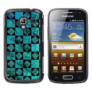 Caucho caso de Shell duro de la cubierta de accesorios de protección BY RAYDREAMMM - Samsung Galaxy Ace 2 I8160 Ace II X S7560M - Wallpaper Turquoise Black Design Wall