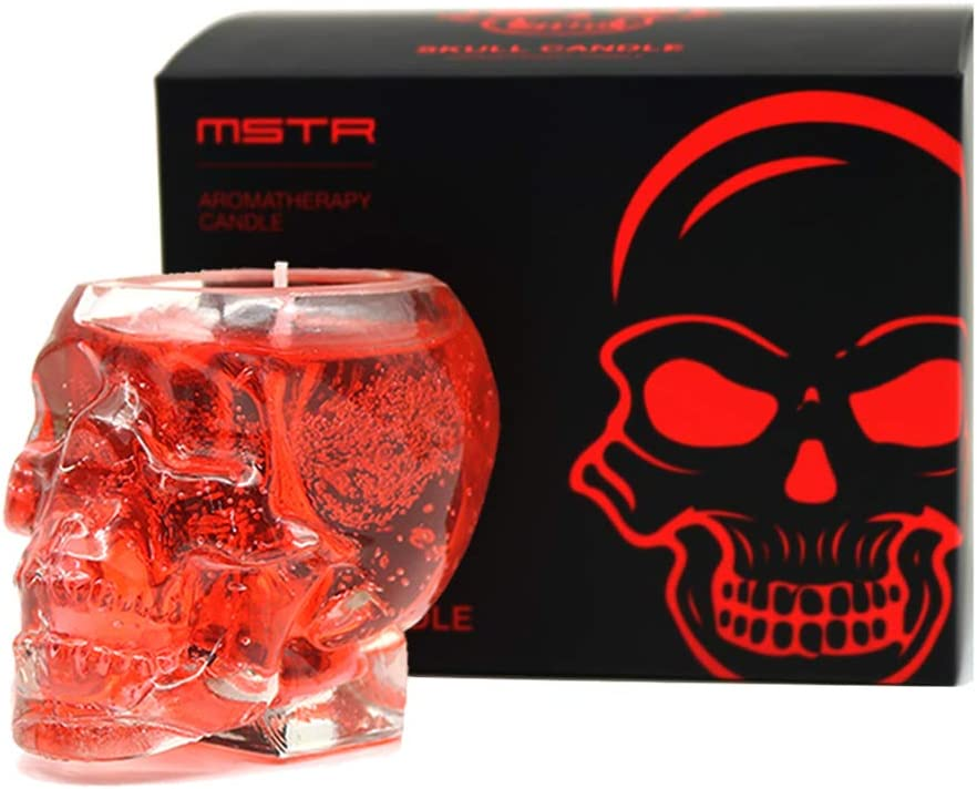MSTR Skull Candles, Skull Shaped Scented Candle Glasses Gifts for Party Christmas Spells Spooky Bar Skull Decoration Candle(2.5OZ Red Jelly)