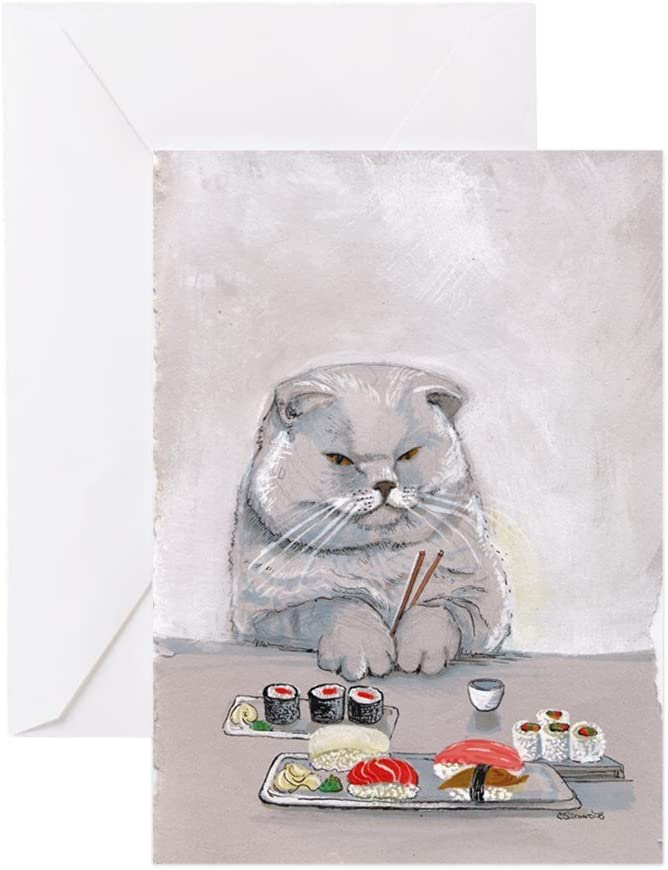 Grey Cat All you Need is Love Blank Greeting Card Birthday 3D Fish Pet Lovers