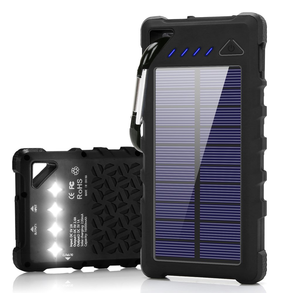 FKANT Waterproof Solar Charger | Portable 16000mAh Dual USB Power Bank | IPX7 Waterproof External Battery Pack with 4LED Flashlight | For iPhone 8 iPad Samsung S8 Note8 Android Phones by FKANT