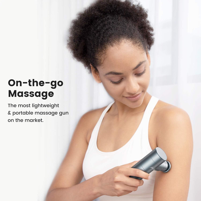 addsfit Mini pistola de masaje yoga 2 cabezas correr para uso en el hogar//oficina//al aire libre//viajes percusi/ón masajeador muscular tama/ño la palma entrenamiento 3 velocidades silenciosa