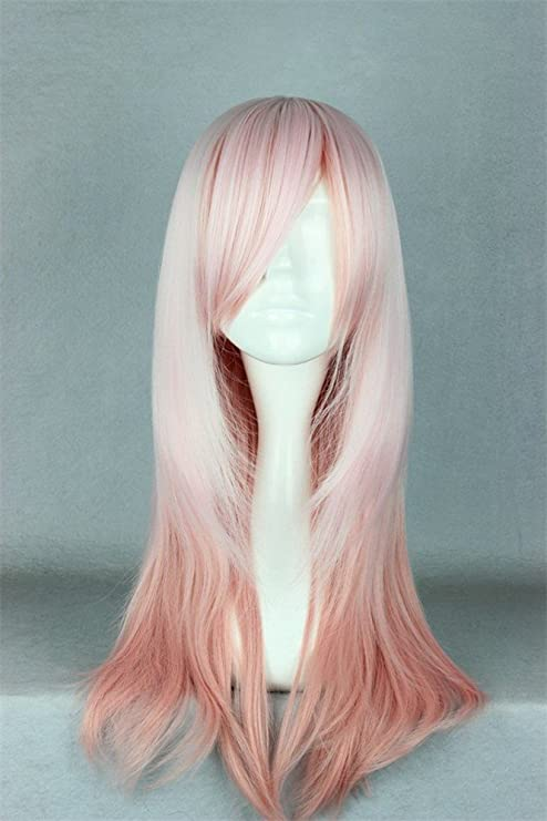 LanTing Cosplay Peluca Cosplay Full Wig Heat Resistant Fiber PInk Cosplay Party Fashion Anime Wig Beauty