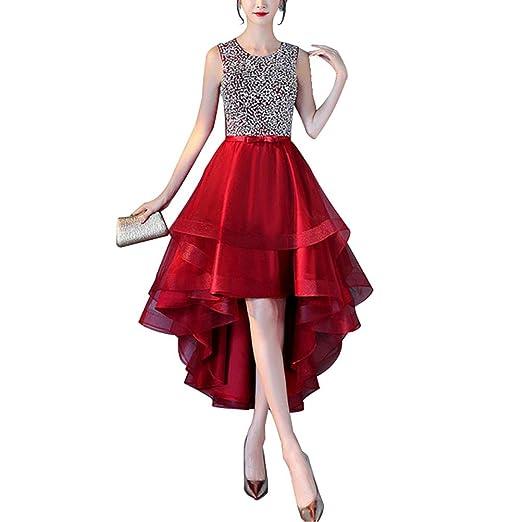 Zalin Womens Elegant Chiffon Long Back Front Short Dress Sleeveless Prom Evening Party Dresses at Amazon Womens Clothing store: