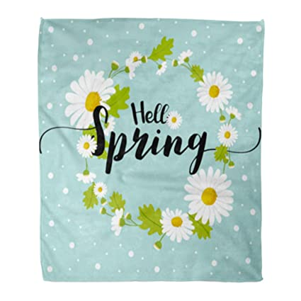 Amazon.com: Golee Throw Blanket Blue Abstract Hello Spring ...