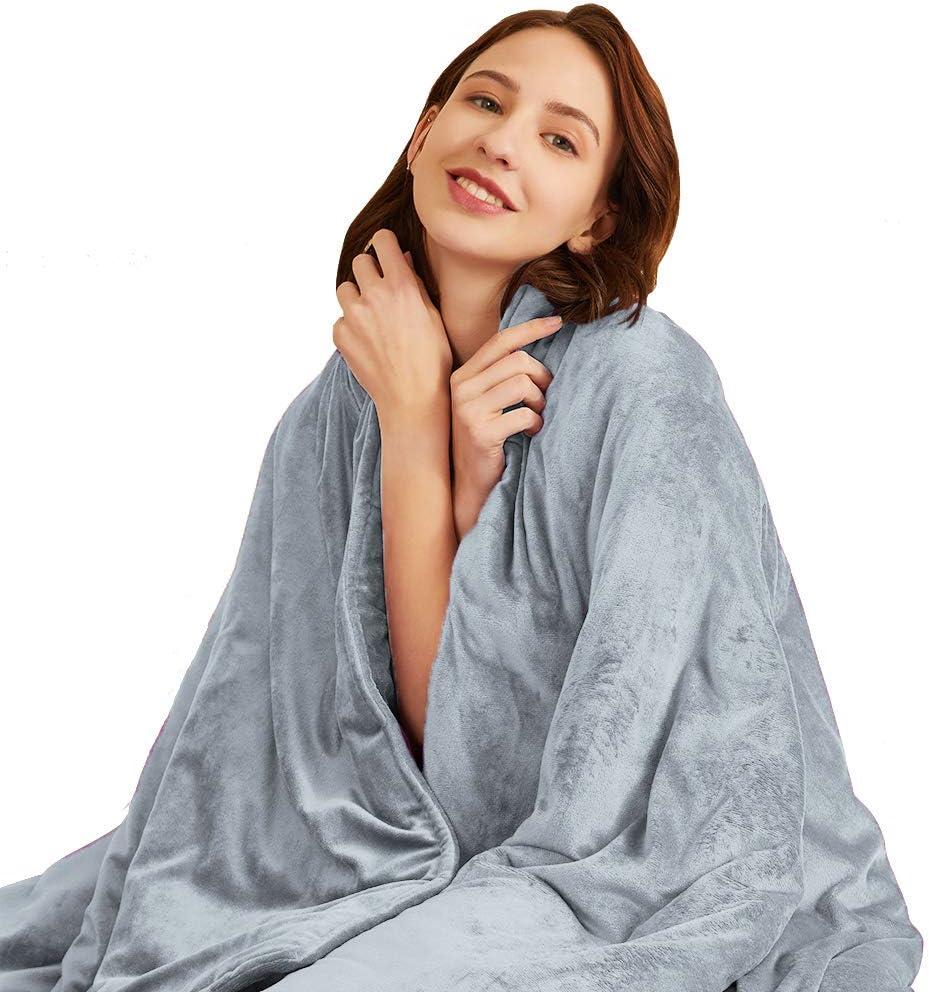 Hiseeme Fleece Weighted Blanket (17 lbs, 48''x72'', Twin Size) Durability & Silky Comfort Blanket for Adult - Grey