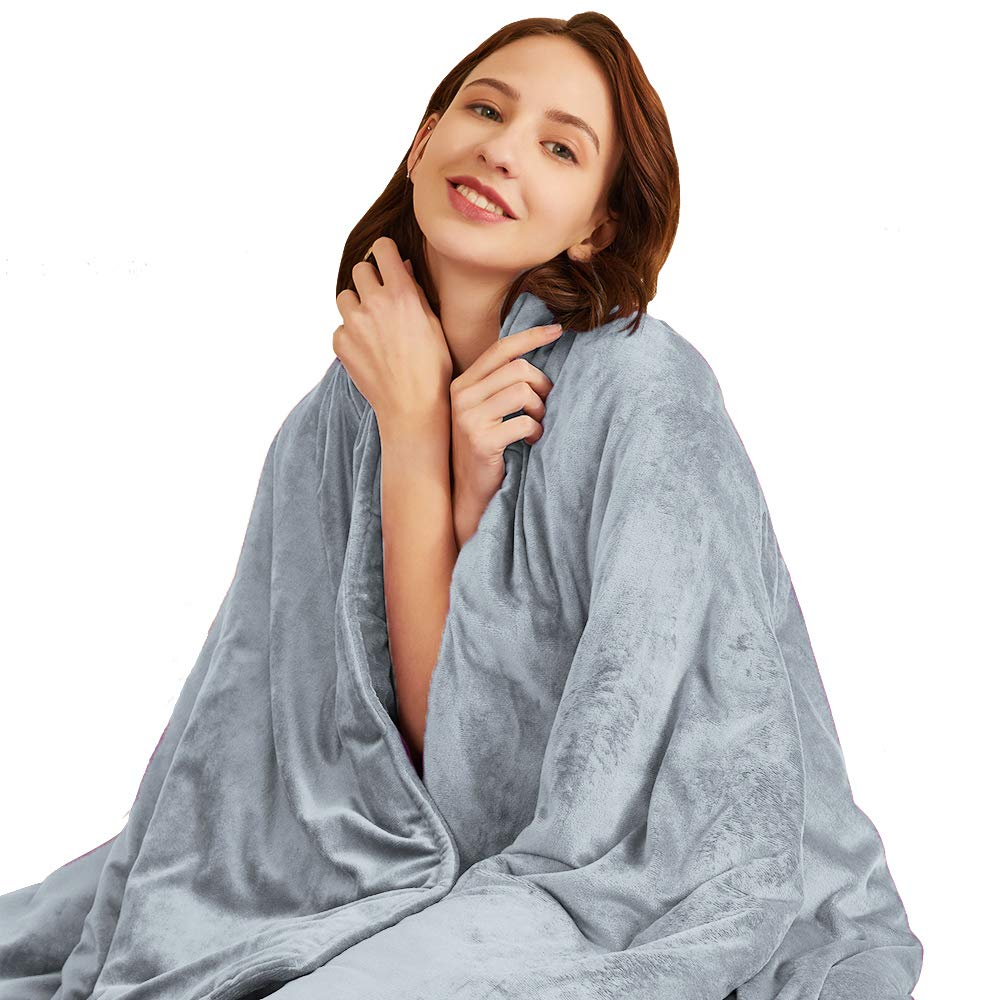 Hiseeme Soft Weighted Blanket Adult | 18lbs, 60''x80'' | Queen Size | Luxury Minky Material with Glass Beads