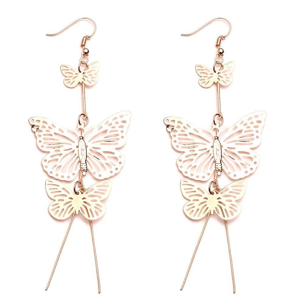 LnLyin Butterfly Earrings Jewelry Hollow Flower Long tassels Earring Elegant Butterfly Dangle Earrings Fashion Unique Jewelry,Gold,One Size