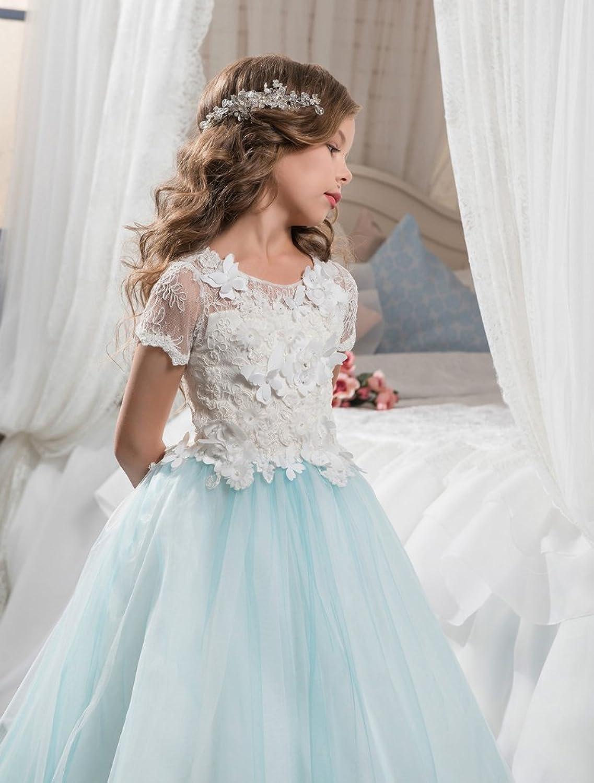 Amazon.com: Sittingley Fancy Girls Pageant Mint Blue Dresses 0-12 ...