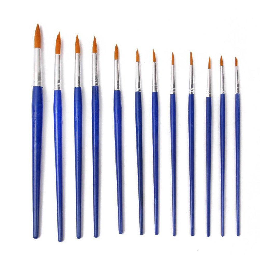 Tinksky 12st wies Pinsel-Set für Ölfarbe Acrylfarbe (blau)