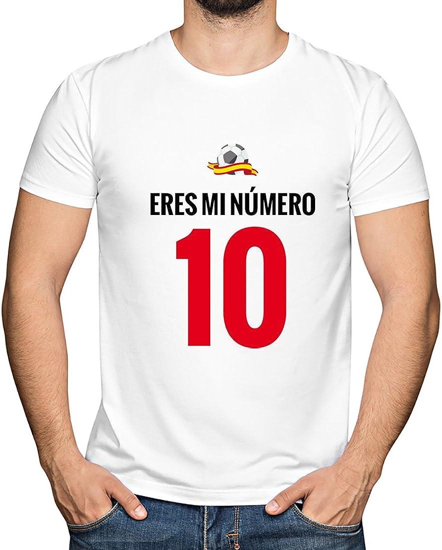 Camiseta Eres mi número 10 para apoyar a la Selección Española (Blanco, L): Amazon.es: Ropa y accesorios
