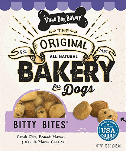 Three Dog Bakery Bitty Bites, Baked Dog Treats, Assorted Flavors, 13 (Baked Dog Treats)