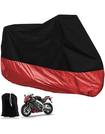 Funda Protector de Polyester Talla XXXL (295cm) Cubierta para Moto Rojo y Negro