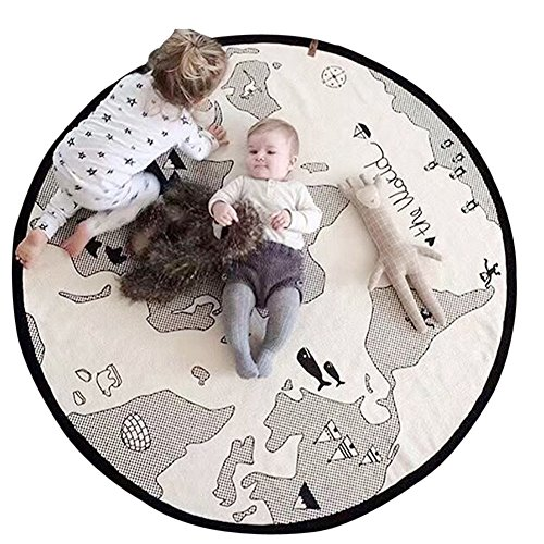 Lzttyee Beige Adventure World Map Pattern Baby Crawling Mats Game Blanket Floor Playmats Round Carpet Children's Room Decoration - Pattern Folded Note