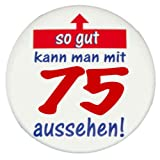Original MakenGO Runder Geburtstag Button als Sticker: So gut kann man mit ?? aussehen - Grosser Vintage Premium Sticker, Ø 57 mm, HighRes Druck, brillante Farben, mit Schutzlaminierung vorne