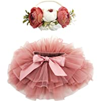 BGFKS Baby Girls Soft Fluffy Tutu Skirt with Cotton Diaper Cover,Toddler Girl Tutu Skirt Sets with Flower Headband