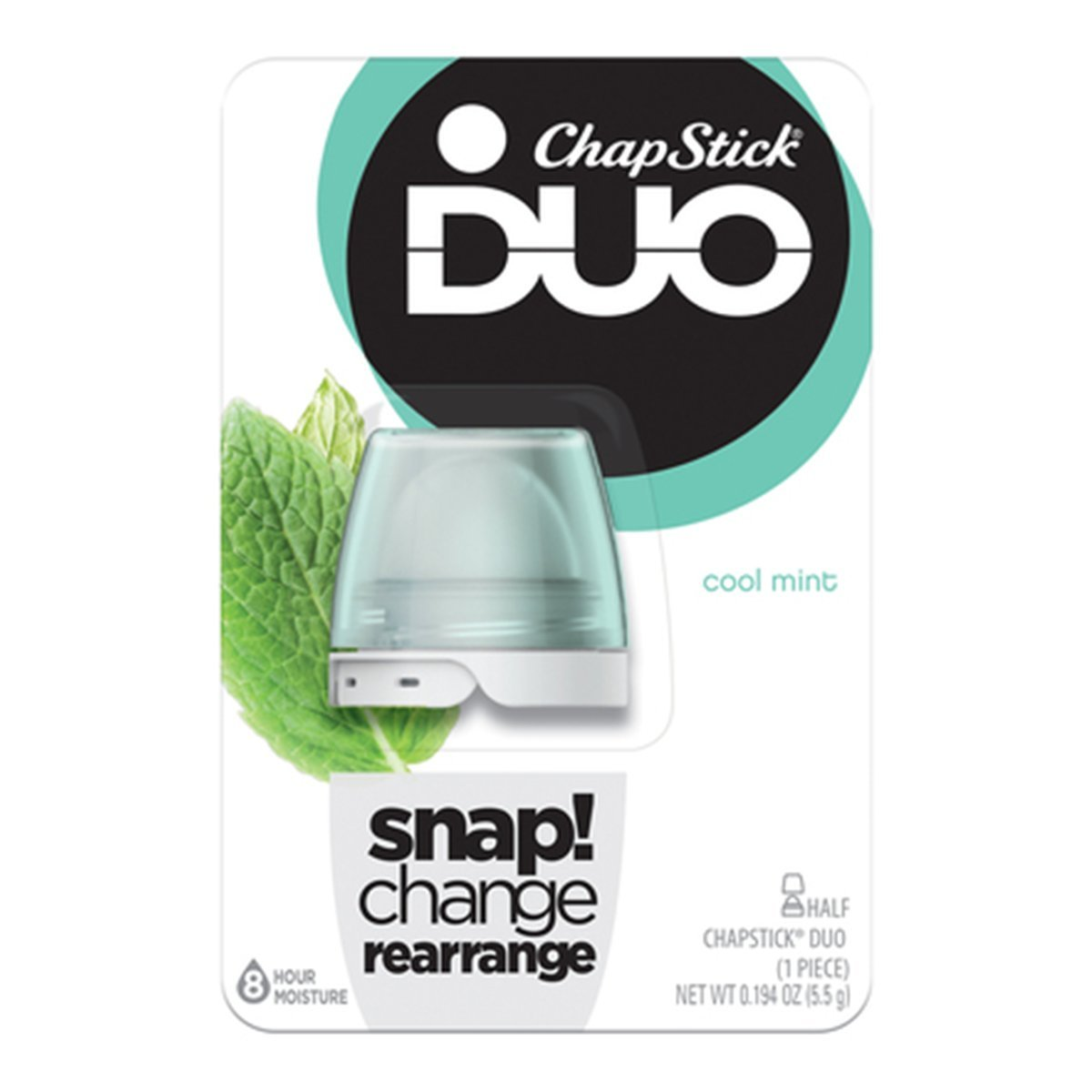 ChapStick DUO Half Lip Balm, 8 Hour Moisture, 0.194 Ounce (Cool Mint Flavor, 1 Blister Pack of 1 Piece)