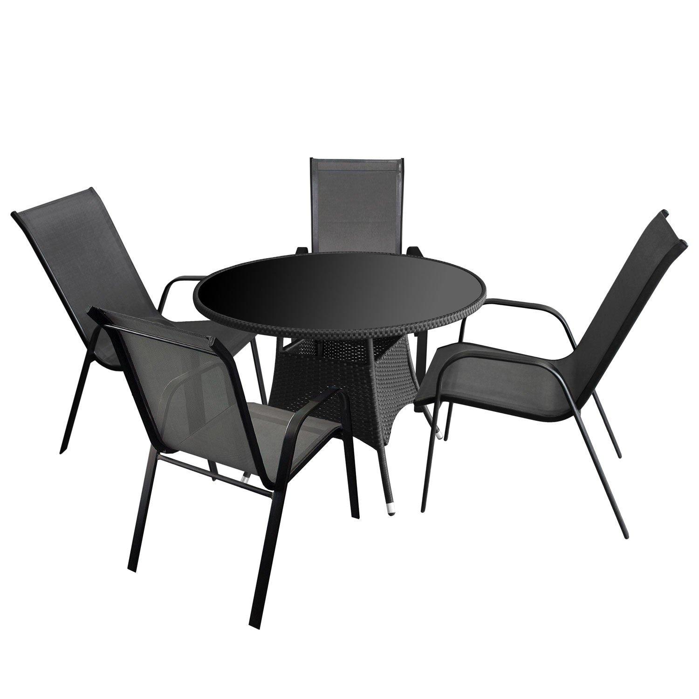 5tlg. Gartenmöbel Set Glastisch, Rattangeflecht, Ø105x73cm + 4x ...