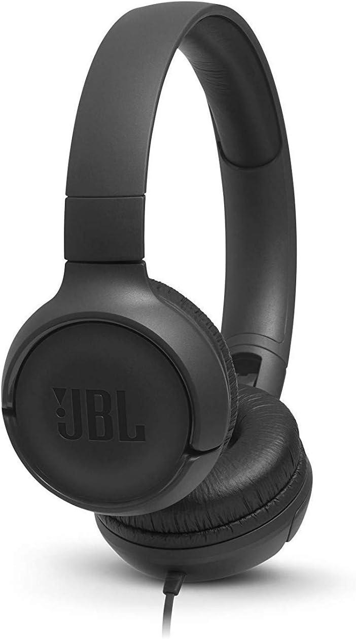 JBL Tune500 - Auriculares supraaurales de cable y control remoto de un solo botón, micrófono incluido, asistente de voz, negro