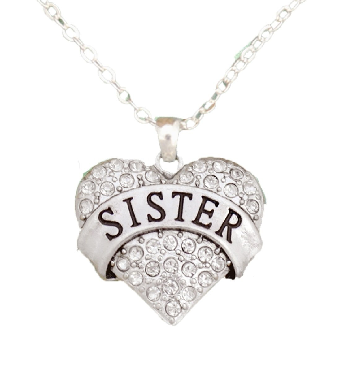 From the Heart ''Sister'' Clear Crystal Rhinestone Heart Necklace.Sister is Engraved in the Center-Crystal Rhinestones Sparkling!!- Heart Charm hangs on an 18 inch silver plated Chain & is Gift Boxed.Perfect Gift for your Sister! Wonderful Birthday,Easter,V