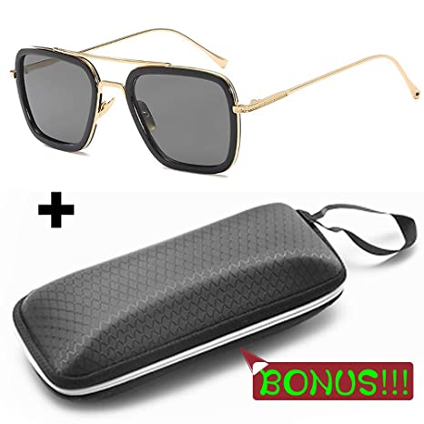 Amazon.com: Tony Stark Sunglasses Metal Gold Square Frame ...