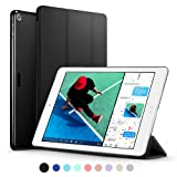 New iPad 2017 iPad 9.7 inch Case, ESR Ultra Slim Lightweight Smart Case Trifold Stand with Auto Sleep/Wake Function, Microfiber Lining, Non-Transparent Solid Black Hard Back Cover for Apple New iPad 9.7 inch 2017 Model, Black