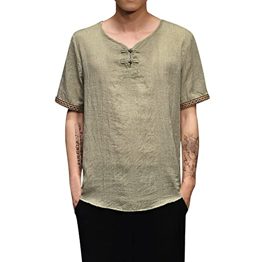 2f7a25aebd4ee iZHH T-Shirt for Men Traditional Linen Shirts Casual Short Sleeve V Neck  Tops Loose