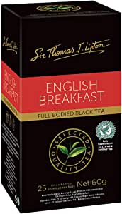 Sir Thomas Lipton English Breakfast Black Tea, Foil Wrapped Tea Bags, 25 Pieces, English Breakfast