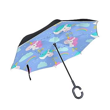 FOLPPLY Paraguas invertido Colorido Unicornio Arco Iris, Doble Capa reversa Paraguas Impermeable para Coche Lluvia