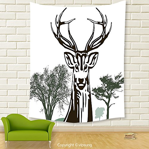 Vipsung House Decor Tapestry_Antlers Decor By Deer Moose With Trees Silhouettes Outline Of Village Mountain Fall Forest Decor_Wall Hanging For Bedroom Living Room Dorm