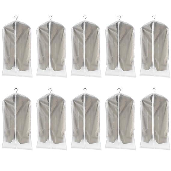 dystaval 10 TLG Set Kleidersack – 60 x 100 Kleiderhülle Anzugsack Anzughülle mit Reißverschluss transparent atmungsaktiv für